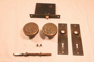 Antique Victorian matching mortise door set Brass knobs backplates lock box OLD