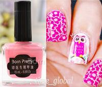 BORN PRETTY Pink Nail Art Stamping Polish Nails Stamp Template Varnish 15ml #16