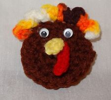 Vintage Hand Crochet Thanksgiving Turkey Head Holiday Pin Handmade Brown Fall