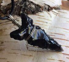 "Father's Day Arrowhead Obsidian Black Colorado Necklace 18"" Wire Wrap"