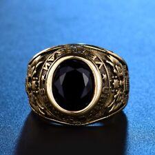 USA Veteran Vintage Style Mens Gold Stainless Steel Black Onyx Ring Jewellery