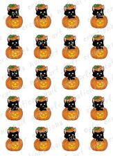 20 HALLOWEEN NAIL DECALS * BLACK CAT IN PUMPKIN *   Water Slide  Nail Art Decals