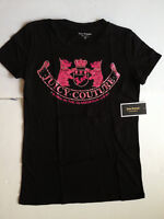 JUICY COUTURE Rhinestones Glitz Regal Crest Doggie Tee T-Shirt BLACK Made in USA