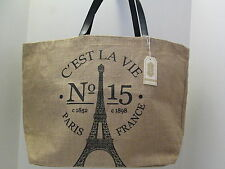Eiffel Tower French Jute Tote by Mud Pie, C'est La Vie, NWT