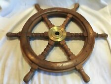 "24"" Nautical Antique Brass Ring Wooden Ship Steering Wheel Vintage"