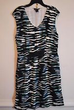 Made In Heaven Black Green Blue 3/4 V-Neck Dress ~ Women's Size XL