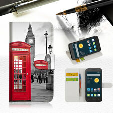 British phone Booth Wallet Case Cover For Telstra Optus Alcatel Pixi 3 4.5--A024
