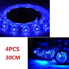 4x 30CM BLUE Color Waterproof Lighting Flexible Strip Light For Harley-Davidson