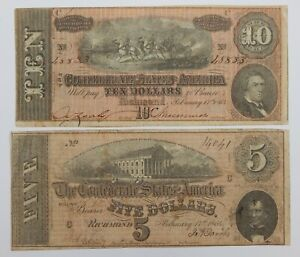 1864 - The Confederate States America Notes - $5 & $10 - Lot of 2 - U.S.