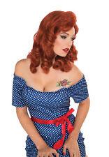 Señoras 1950s Pinup Retro Rock Dama Peluca Jengibre Accesorio de vestido de fantasía