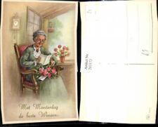 203172,Künstler Ak Alte Frau liest Karte Lesen Blumen Rosen Strauß Moederdag Mut