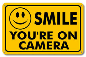 NEW SMILE YOU'RE ON CAMERA SECURITY WATERPROOF BUSINESS YELLOW SIGN VIDEO CCTV