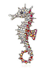 Colourful Rhinestone Crystal Brooch Pin New Seahorse Ocean Fish Vintage Style