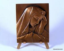Miniature Bronze Plaque MADONNA & CHILD on Easel Signed
