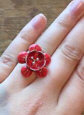 Lovely Pastel Enamel Pilgrim Silver Flower Ring/Coral Daisy/Red/Danish Design
