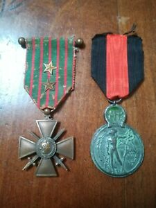 Médaille Militaire Française Croix De Guerre 1914 1916 + Médaille L'yser belge