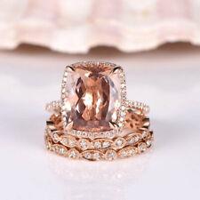 4Ct Cushion-Cut Morganite Trio Set Halo Engagement Ring 18K Rose Gold Finish
