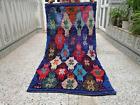 Vintage Moroccan Handmade Boucherouite Berber Rug Multi-Color Area Rug Carpet