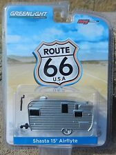 1:64 GreenLight *ROUTE 66* Silver SHASTA 15' Airflyte Camper Trailer HITCH & TOW