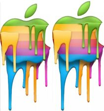 "X2 Rainbow Drip Apple Logo Macbook Air Pro 13"" 15"" 17"" Removable Sticker Retro"