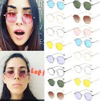 Fashion Men Women Hexagon Square Sunglasses Mirrored Metal Frame Clear Glasses