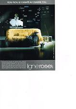 PUBLICITE ADVERTISING  1985   LIGNE ROSET  canapé     au mur   MARILYN MONROE