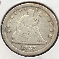 1843 O Seated Liberty Quarter 25c RARE Date High Grade XF Det. #4711