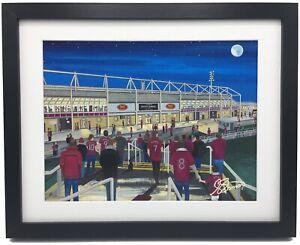 Northampton Town FC High Quality Framed Football Stadium Art Print. Approx A4.