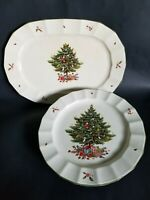 "Mikasa Dinner 10 3/4"" Plates & Platter Happy Holidays NY101 1982 Christmas Tree"
