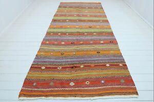 """Turkish Milas Kilim Rug, Striped Rug, Carpet, Area Rugs, Largerug Kelim 59""""x144"""""""