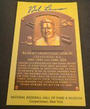 BOB LEMON SIGNED MLB HOF PLAQUE POSTCARD CLEVELAND INDIANS W/COA+PROOF RARE WOW