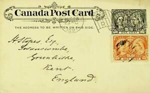 CANADA 1897 1c UPRATED ON 1c POSTAL CARD TO ENGLAND GB