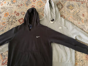 NIKE Pullover Fleece Hoodie Set of 2 Sweatshirts Men's Large Black and Gray
