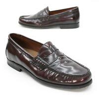 Johnston & Murphy Men's 8 M Pannell Burgundy Calfskin Leather Penny MOC Loafers