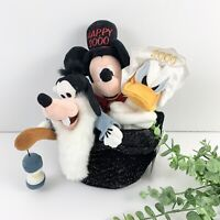 Disney Store Happy New Year 2000 Donald Mickey Goofy Hat Plush New With Tags
