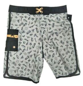 Boy's Printed Swim Trunks, Art Class Size 14, Gray