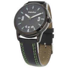 Impulse by Steinhausen IM8686LGR Mens Watch Black Dial Black/Green Leather Strap