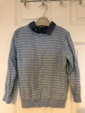Next Boys Blue Borders Mock Shirt Jumper 4-5yrs