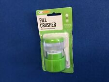 Pill crusher with convenient pill storage case, green