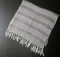 "Women's Scarf Oblong 66"" Rectangle Fringed Striped Metallic Grey Gray Wrap Shawl"