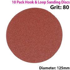 Qty 10 - 125mm 5 Pulgadas los discos de lijar 80 Grit-Lijadora De Órbita-Hook & Loop