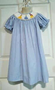 NWOT Three Sisters Blue Gingham Disney Inspired Princess Smocked Bishop Dress 4T