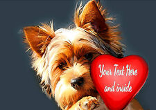 PERSONALISED YORKSHIRE TERRIER YORKIE DOG HEART VALENTINE ANY OCCASION CARD