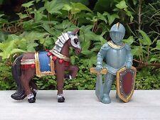 Miniature Dollhouse FAIRY GARDEN ~ MEDIEVAL TIMES Knight & Horse Set of 2