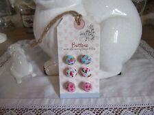 carte de 6 boutons en tissu liberty bleu blanc rose fleurs Clayre & eef couture