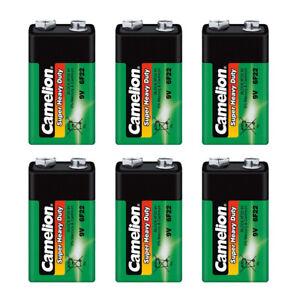 6x Camelion Super Heavy Duty Batterie 9V E-Block 9 Volt 6F22 Rauchmelder