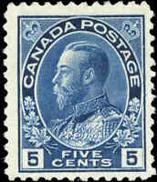 Mint H Canada 5c 1914 F+ Scott #111 King George V Admiral Issue Stamp