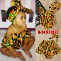 Toddler Baby Girls African Print Off Shoulder Romper+HeadBand Outfits Clothes UK