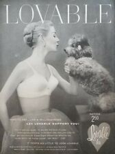 Sexy Woman in Lingerie Bra Underwear Photo Lovable Poodle 1950s Vtg Print Ad