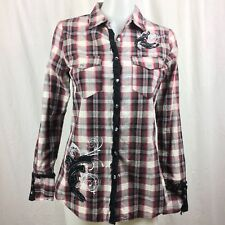 Maurices Premium Womens Western Plaid Shirt Embellished Snap Button Red Black S